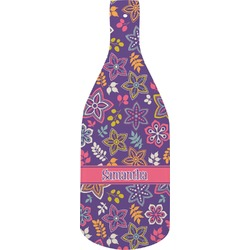 Simple Floral Bottle Shaped Cutting Board (Personalized)