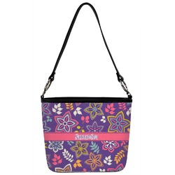 Simple Floral Bucket Bag w/ Genuine Leather Trim (Personalized)