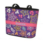 Simple Floral Bucket Tote w/ Genuine Leather Trim (Personalized)