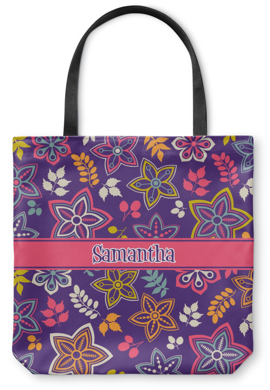Simple Floral Canvas Tote Bag - Medium - 16u0026quot;x16u0026quot; (Personalized) - YouCustomizeIt