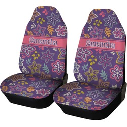 Simple Floral Car Seat Covers (Set of Two) (Personalized)
