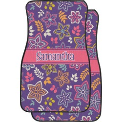 Simple Floral Car Floor Mats (Front Seat) (Personalized)