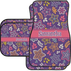 Simple Floral Car Floor Mats (Personalized)