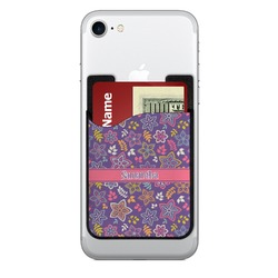 Simple Floral Cell Phone Credit Card Holder (Personalized)