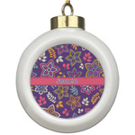 Simple Floral Ceramic Ball Ornament (Personalized)
