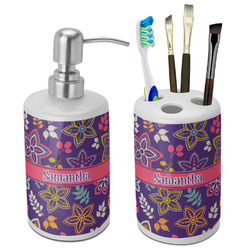 Simple Floral Ceramic Bathroom Accessories Set (Personalized)