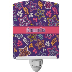 Simple Floral Ceramic Night Light (Personalized)