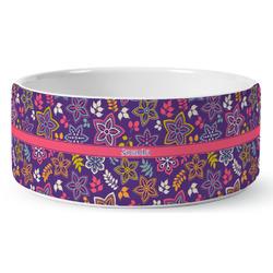 Simple Floral Ceramic Pet Bowl (Personalized)