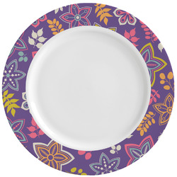 Simple Floral Ceramic Dinner Plates (Set of 4) (Personalized)