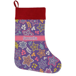 Simple Floral Holiday / Christmas Stocking (Personalized)