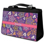 Simple Floral Classic Tote Purse w/ Leather Trim (Personalized)