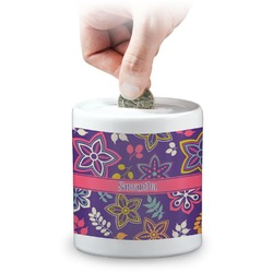 Simple Floral Coin Bank (Personalized)