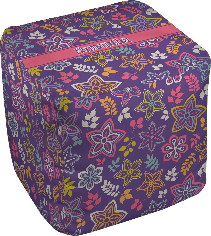 simple floral cube pouf ottoman 18 personalized. Black Bedroom Furniture Sets. Home Design Ideas