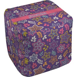 Simple Floral Cube Pouf Ottoman (Personalized)