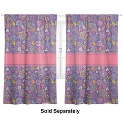 Simple Floral Custom Sized Curtain Panel (Personalized)