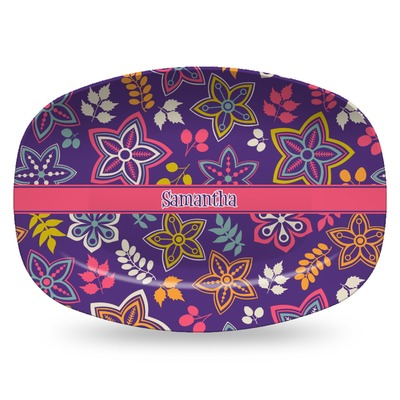 Simple Floral Plastic Platter - Microwave & Oven Safe Composite Polymer (Personalized)