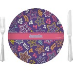 "Simple Floral 10"" Glass Lunch / Dinner Plates - Single or Set (Personalized)"