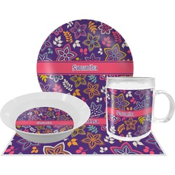 Simple Floral Dinner Set - 4 Pc (Personalized)