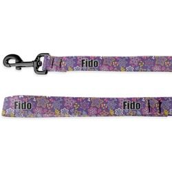 Simple Floral Deluxe Dog Leash (Personalized)