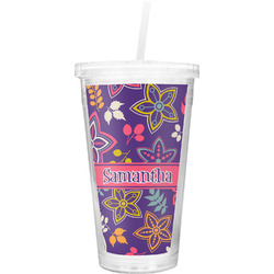 Simple Floral Double Wall Tumbler with Straw (Personalized)