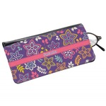 Simple Floral Genuine Leather Eyeglass Case (Personalized)