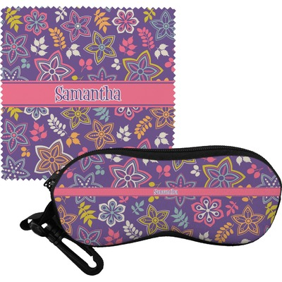 Simple Floral Eyeglass Case & Cloth (Personalized)