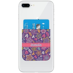 Simple Floral Genuine Leather Adhesive Phone Wallet (Personalized)