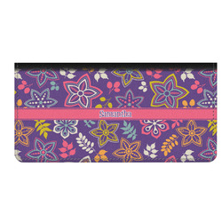 Simple Floral Genuine Leather Checkbook Cover (Personalized)
