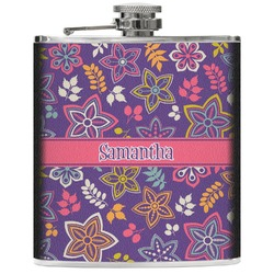 Simple Floral Genuine Leather Flask (Personalized)