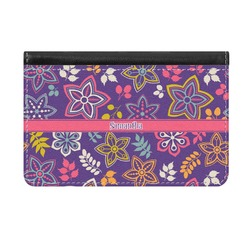Simple Floral Genuine Leather ID & Card Wallet - Slim Style (Personalized)