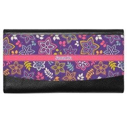 Simple Floral Genuine Leather Ladies Wallet (Personalized)