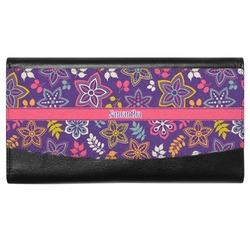 Simple Floral Genuine Leather Ladies Wallet (Personalized)