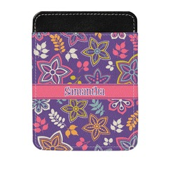 Simple Floral Genuine Leather Money Clip (Personalized)