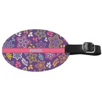 Simple Floral Genuine Leather Oval Luggage Tag (Personalized)