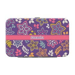 Simple Floral Genuine Leather Small Framed Wallet (Personalized)