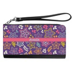 Simple Floral Genuine Leather Smartphone Wrist Wallet (Personalized)