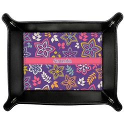 Simple Floral Genuine Leather Valet Tray (Personalized)