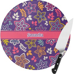 Simple Floral Round Glass Cutting Board (Personalized)