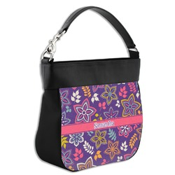 Simple Floral Hobo Purse w/ Genuine Leather Trim (Personalized)