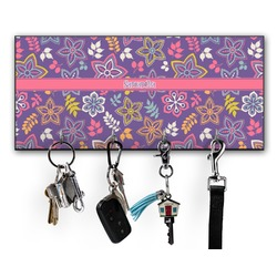 Simple Floral Key Hanger w/ 4 Hooks (Personalized)