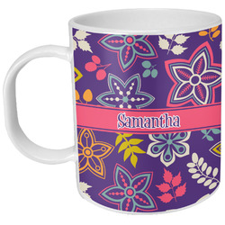 Simple Floral Plastic Kids Mug (Personalized)