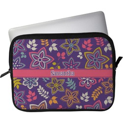 """Simple Floral Laptop Sleeve / Case - 13"""" (Personalized)"""