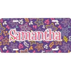 Simple Floral Front License Plate (Personalized)