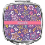 Simple Floral Compact Makeup Mirror (Personalized)