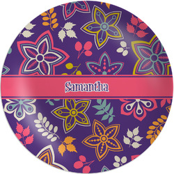 """Simple Floral Melamine Plate - 8"""" (Personalized)"""