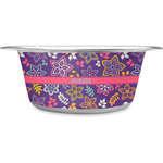 Simple Floral Stainless Steel Dog Bowl (Personalized)
