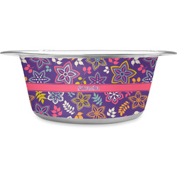 Simple Floral Stainless Steel Pet Bowl (Personalized)