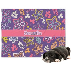 Simple Floral Minky Dog Blanket - Regular (Personalized)