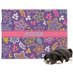 Simple Floral Minky Dog Blanket (Personalized)