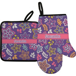 Simple Floral Oven Mitt & Pot Holder (Personalized)